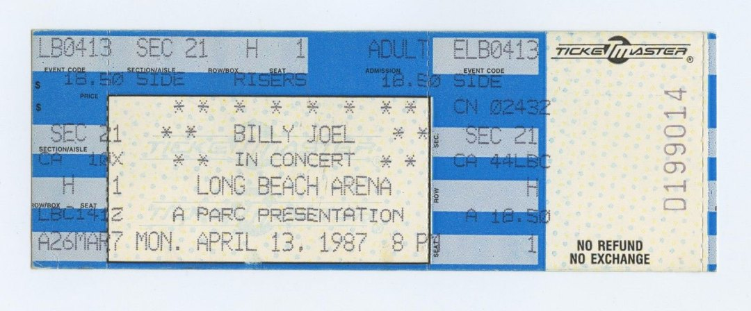 Billy Joel Ticket 1987 Apr 13 Long Beach Arena Unused