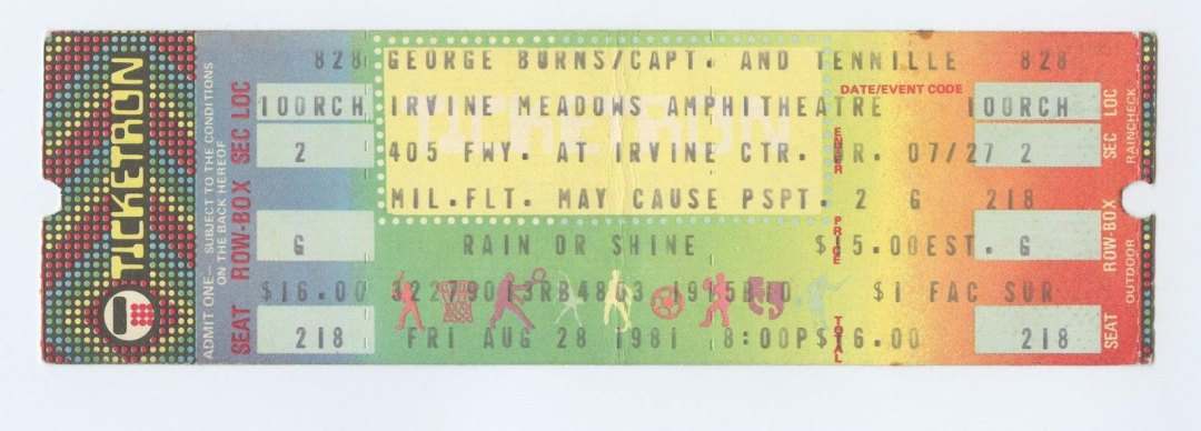 Captain and Tennille Ticket 1981 Aug 28 Irvine Meadows Amphitheatre Unused