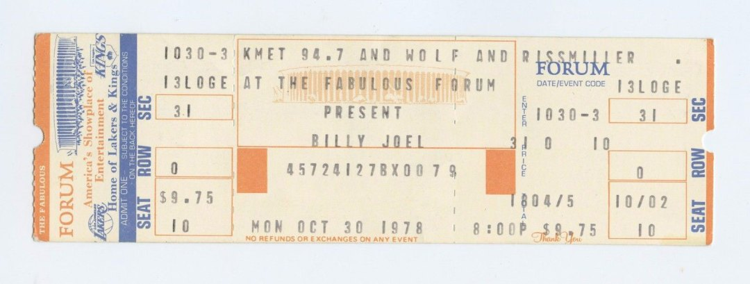Billy Joel Ticket 1978 Oct 30 Fabulous Forum Unused