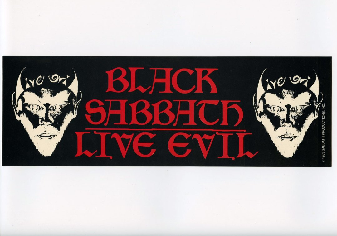 Black Sabbath Sticker Live Evil 1983 Vintage