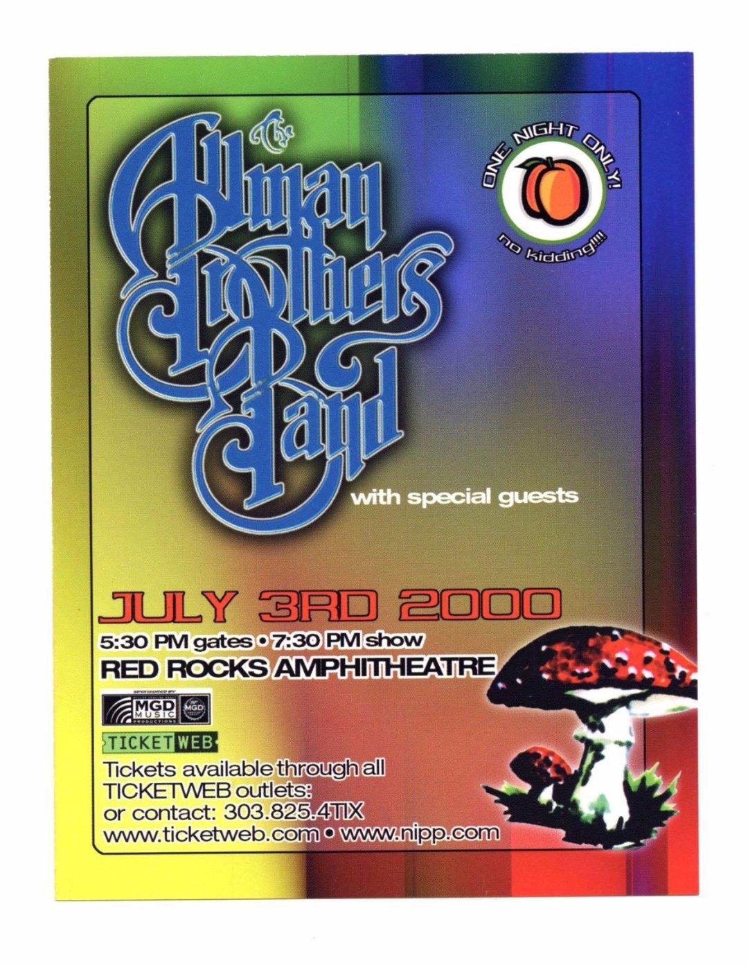 Allman Brothers Band Handbill 2000 Jul 3 Red Rock Amphitheatre Promo 2 sided