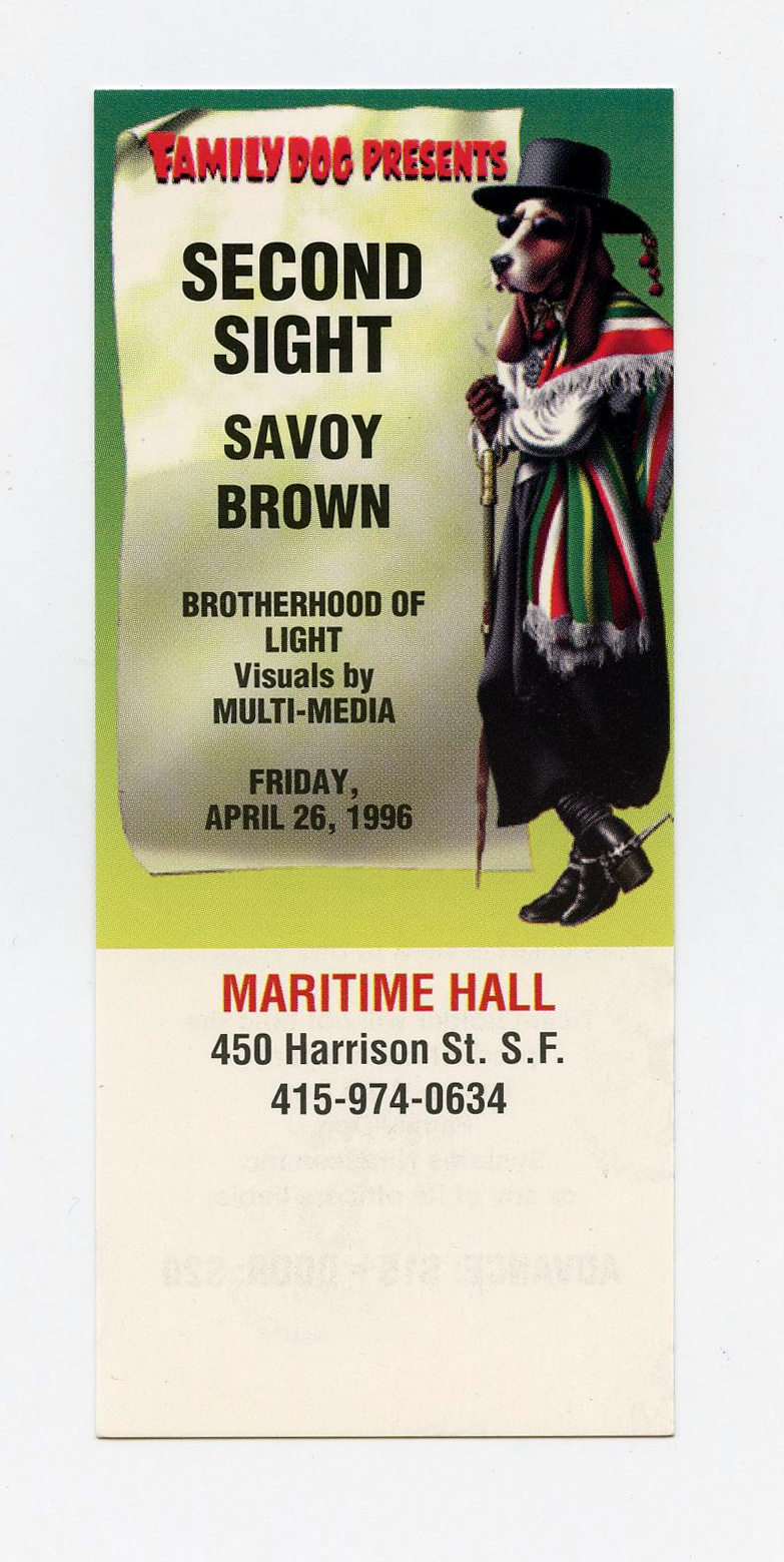 Maritime Hall 1996 Apr Ticket Second Sight Savoy Brown