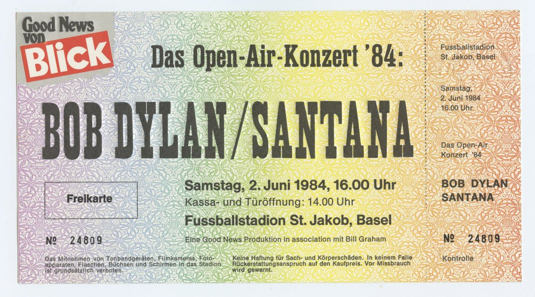 Bob Dylan Santana Ticket 1984 Jun 2 St Jakob Basel Switzerland Unused