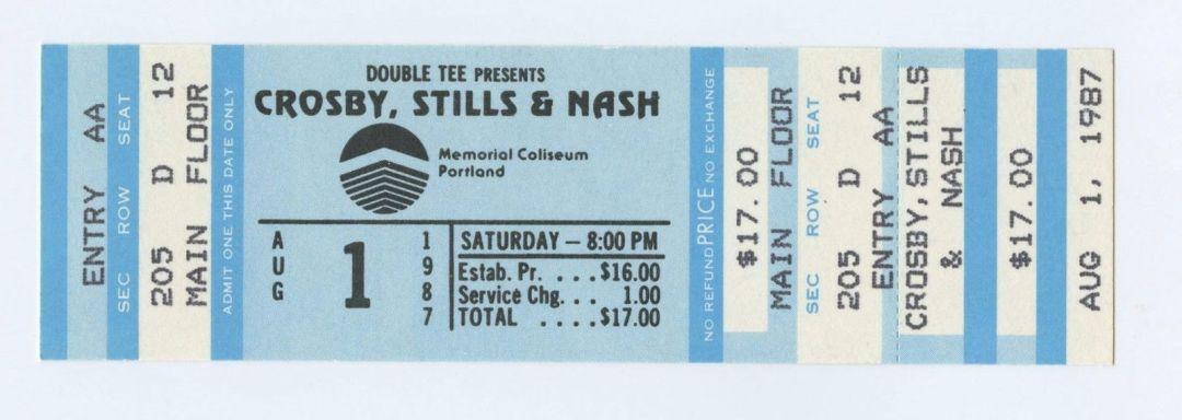 Daivid Crosy Stephen Stills Graham Nash Ticket 1987 Aug 1 Memorial Coliseum Portland Unused