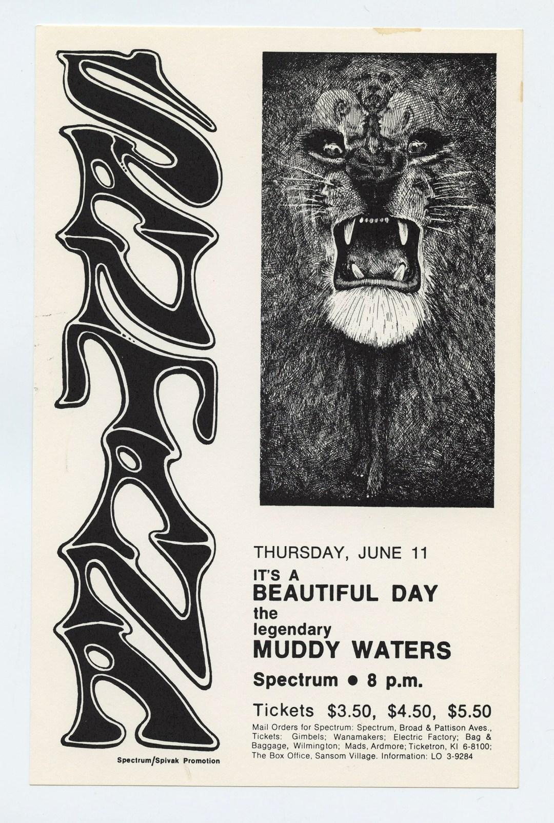 Santana Muddy Waters Handbill 1969 Jun 11 Spectrum Philadelphia Lee Conklin