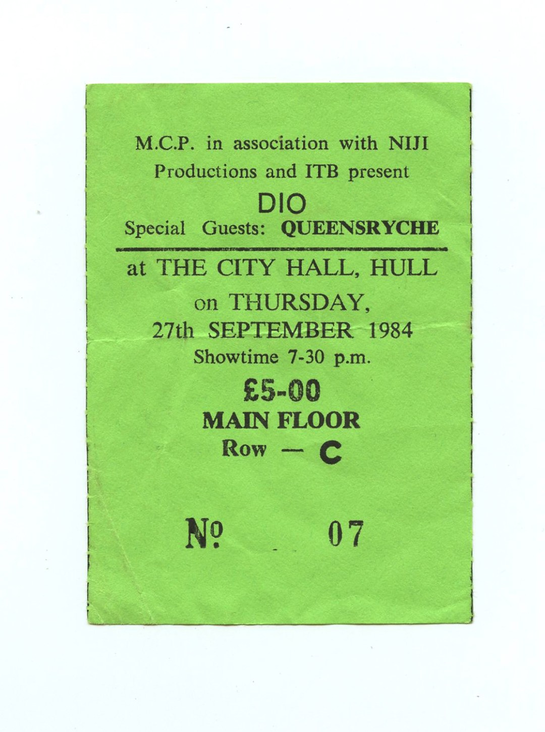 DIO Ticketstub 1984 Sep 27 Hull City Hall Kingston upon Hull UK w/ Queensryche