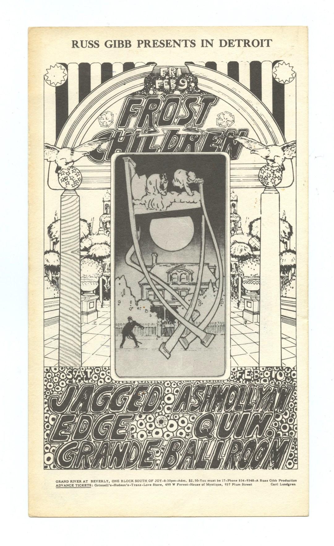Grande Ballroom 1968 Feb 9 Postcard Frost Children Jagged Edge Ashmollyan Quintet