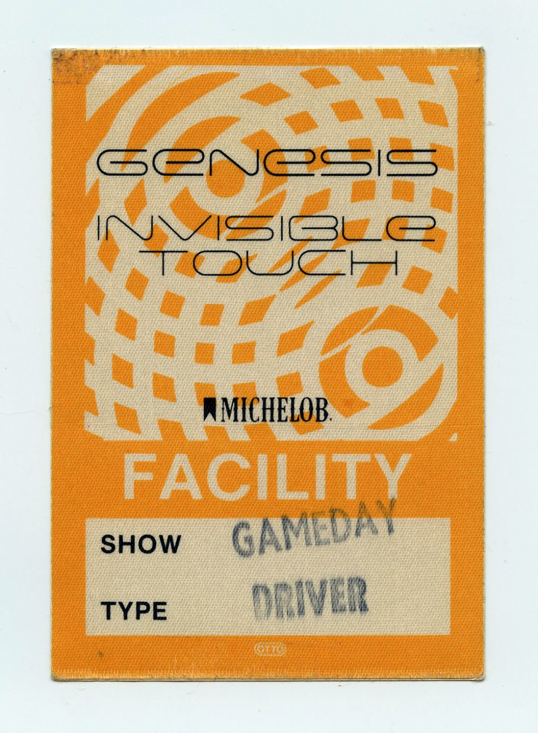Genesis Backstage Pass 1986 Invisible Touch Tour