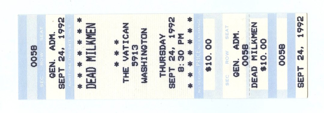 Dead Milkmen Ticket 1992 Sep 24 The Vatican Houston Unused