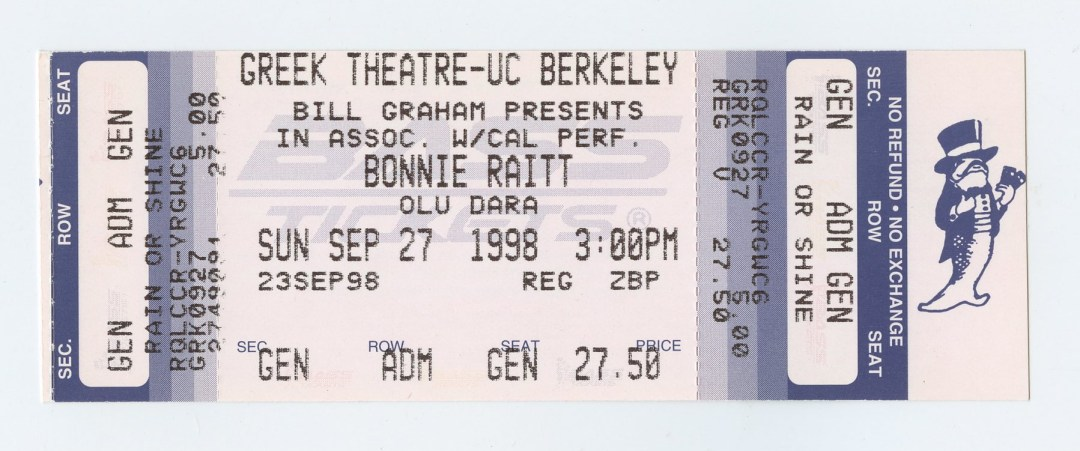 Bonnie Raitt Ticket 1998 Sep 27 Greek Theatre Berkeley Unused
