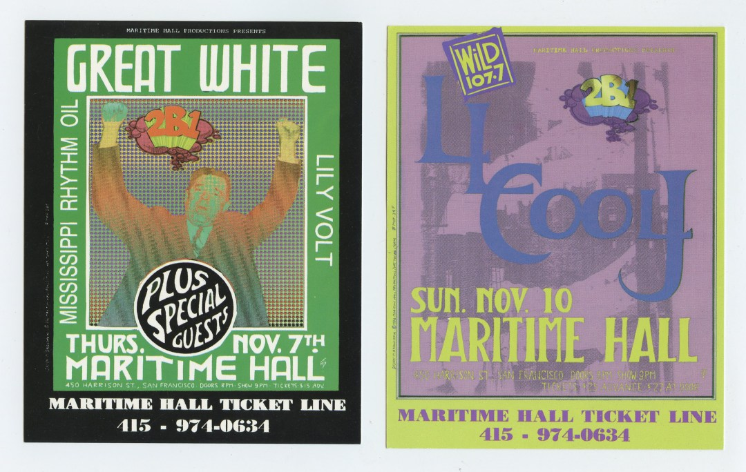 Maritime Hall Handbill 1996 Nov Great White LL Cool J