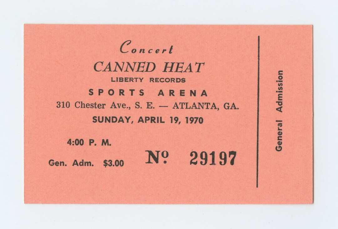 Canned Heat Ticket 1970 April 19 Sports Arena Atlanta