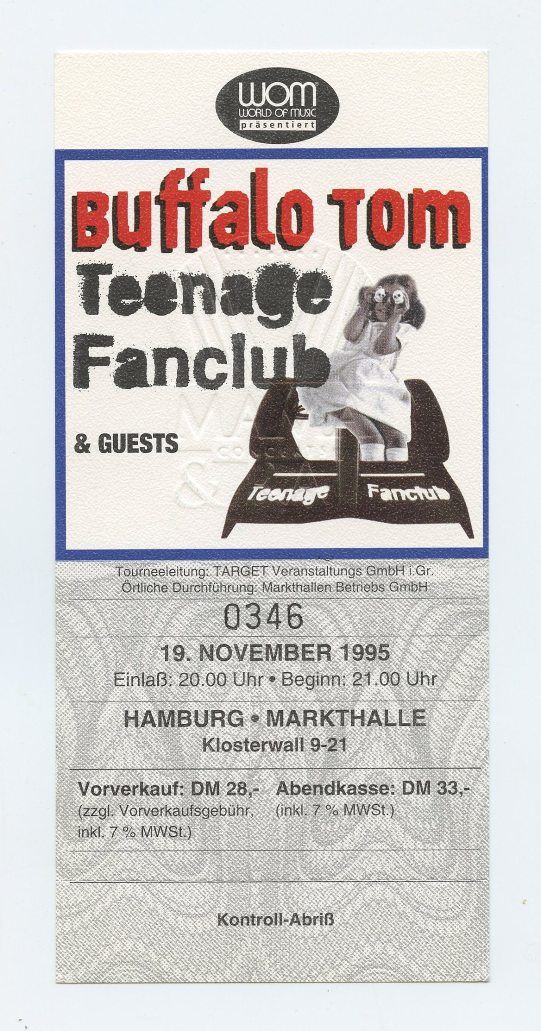 Buffalo Tom Ticket 1995 Nov 19 Hamburg Germany Unused