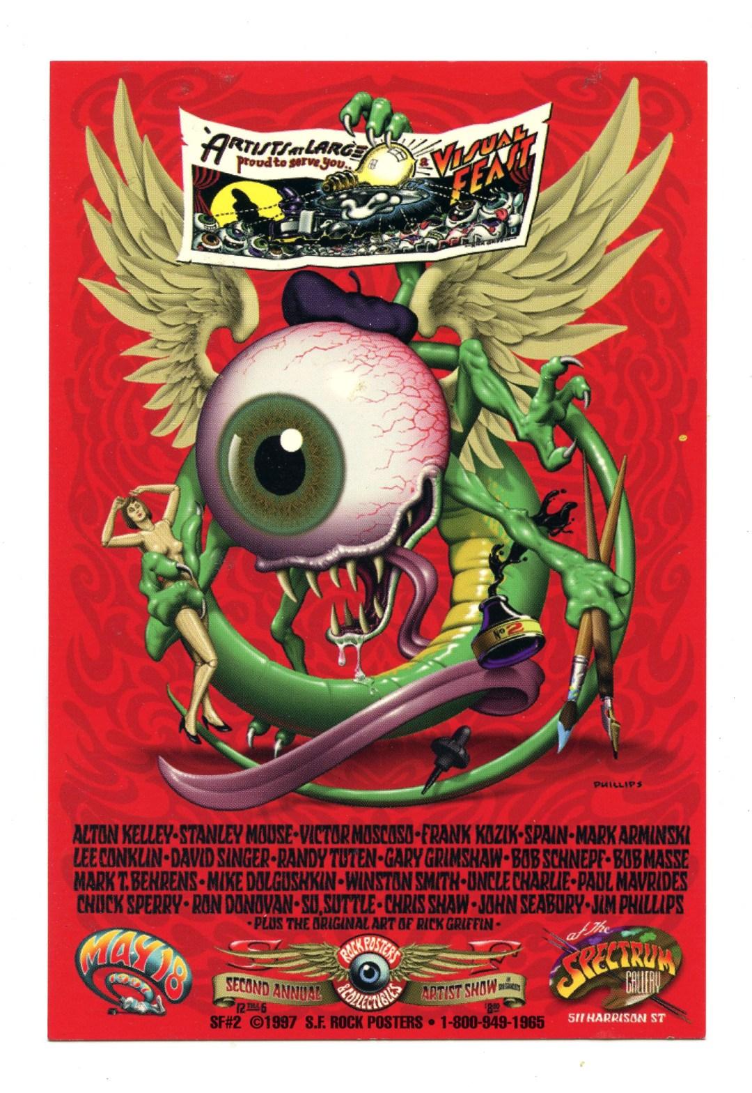 Alton Kelley Handbill Flying Eyeball Second Annual Rock Poster Artist Show 1997