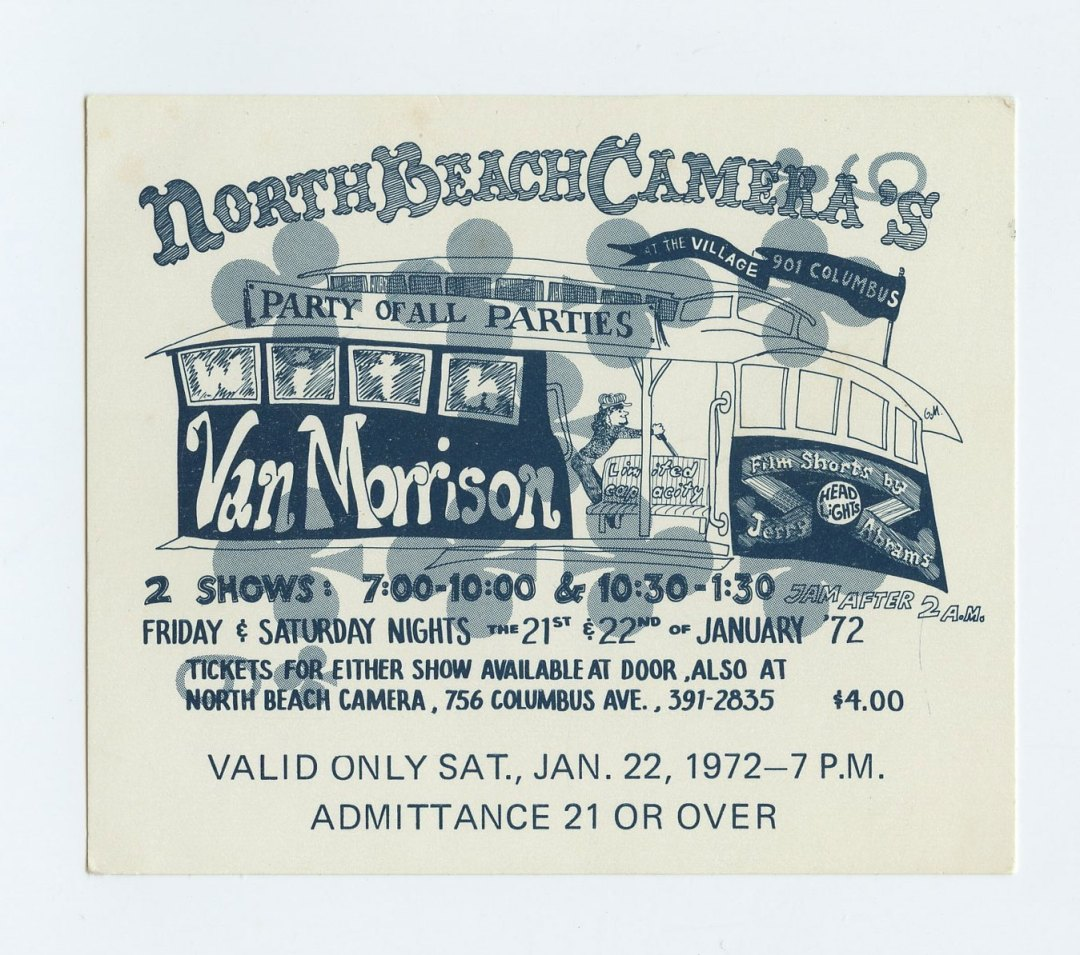 Van Morrison Ticket 1972 Jan 21 The Village San Francisco