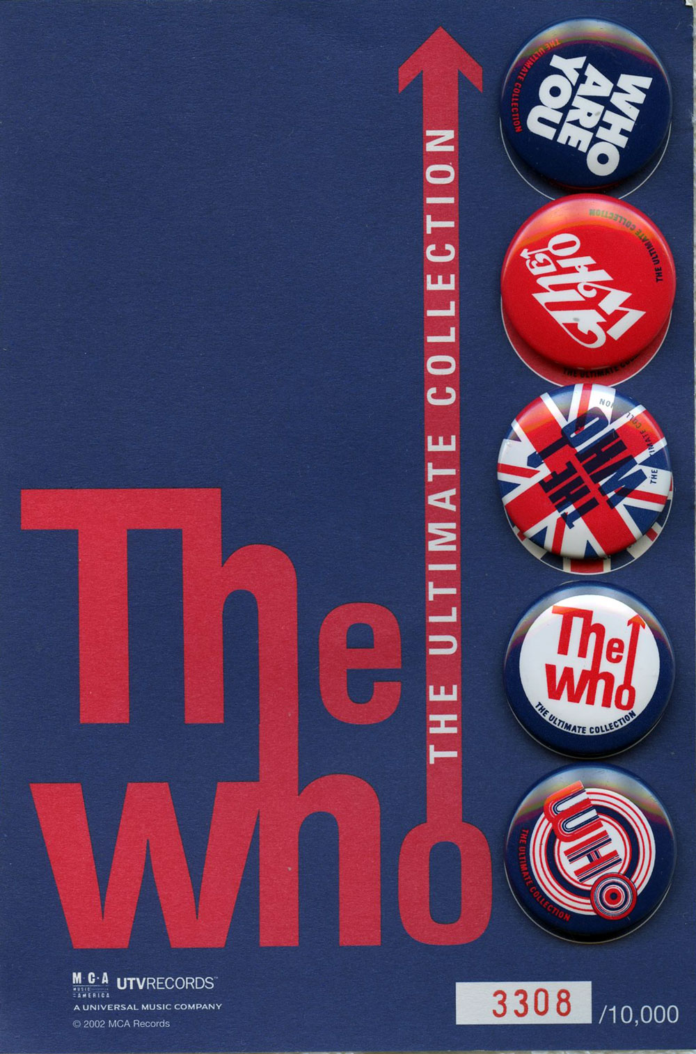The WHO Button Set of 5 Ultimate Collection Numberd MCA Records