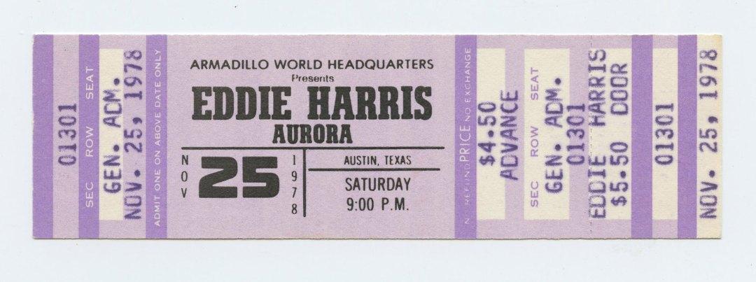 Eddie Harris Ticket 1978 Nov 25 Austin TX Unused