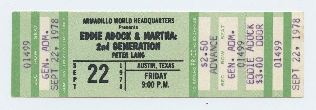 Eddie Adock and Martna Ticket 1978 Sep 22 Austin TX Unused