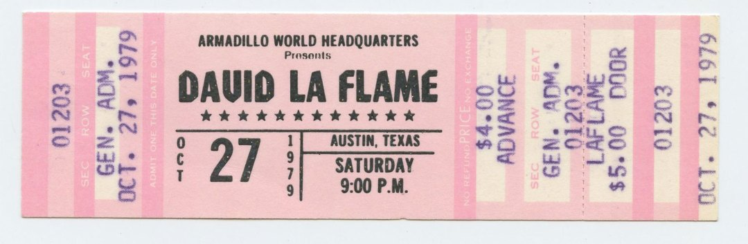 David La Flame Ticket 1979 Oct 27 Armadillo World Headquaters Austin TX Unused