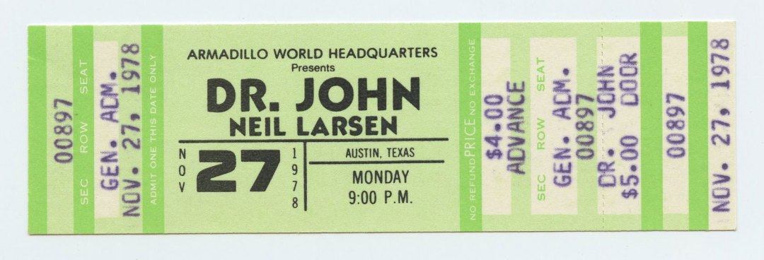 Dr. John Ticket 1978 Nov 27 Austin TX Unused w/ Neil Larsen