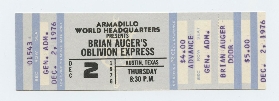 Brian Auger's Oblivon Express Ticket 1976 Dec 2 Armadillo World Headquarters Austin TX Unused