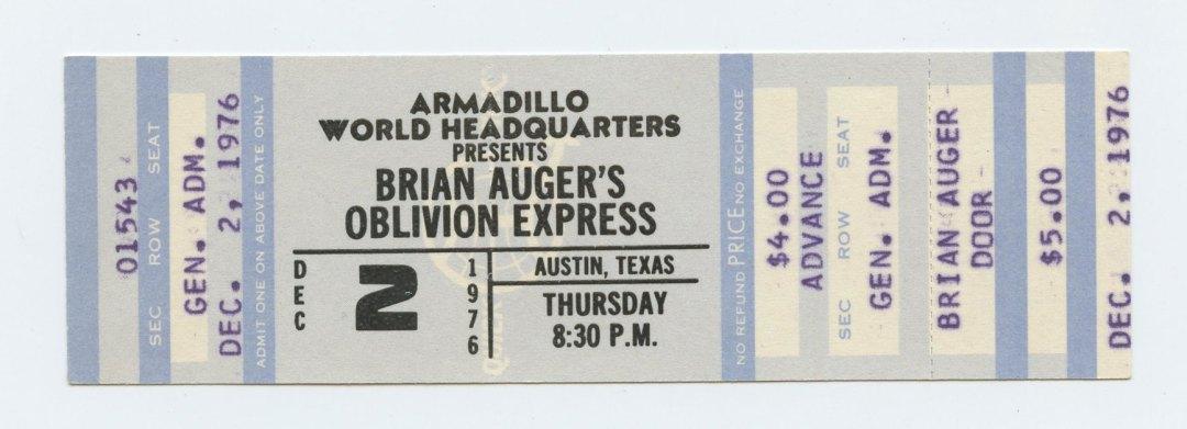 Brian Auger's Oblivon Express Ticket 1976 Dec 2 Austin TX Unused