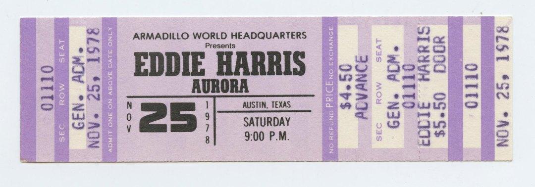 Eddie Harris Ticket 1978 Nov 26 Austin TX Unused