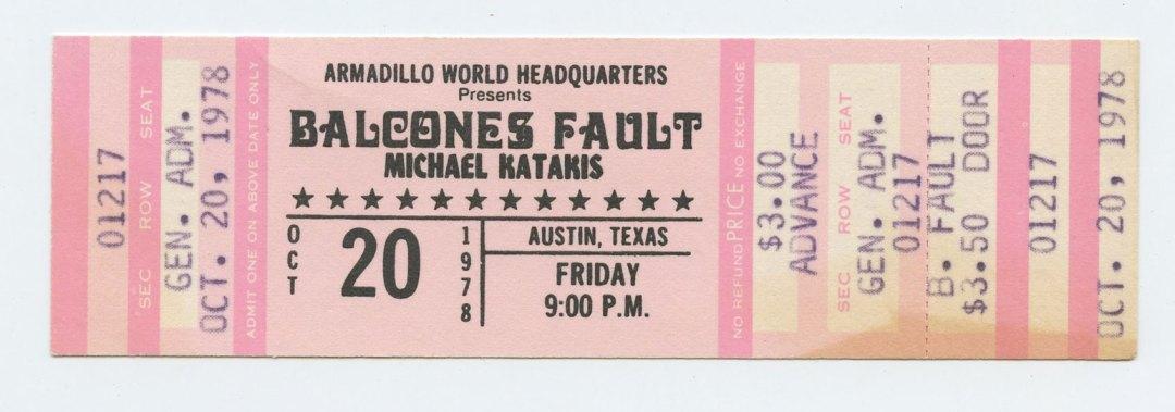 Balcones Fault Ticket 1978 Oct 20 Armadillo World Headquaters Austin TX Unused