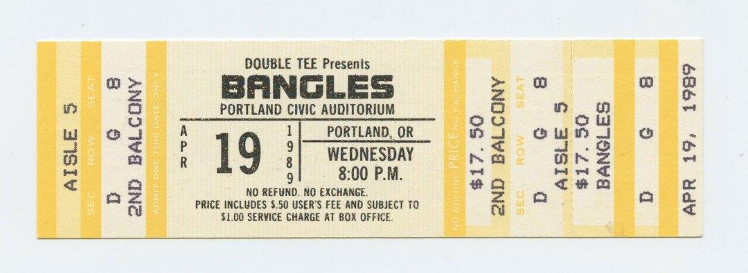 Bangles Ticket 1989 April 19 Portland Civic Auditorium Unused