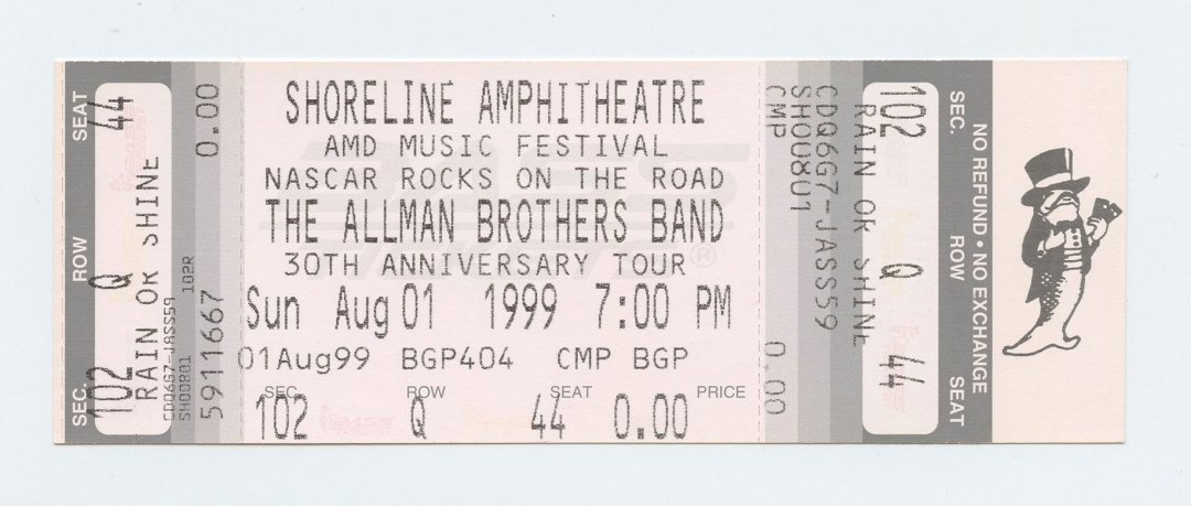 Allman Brothers Band Ticket 1999 Aug 1 Shoreline Amphitheatre Unused