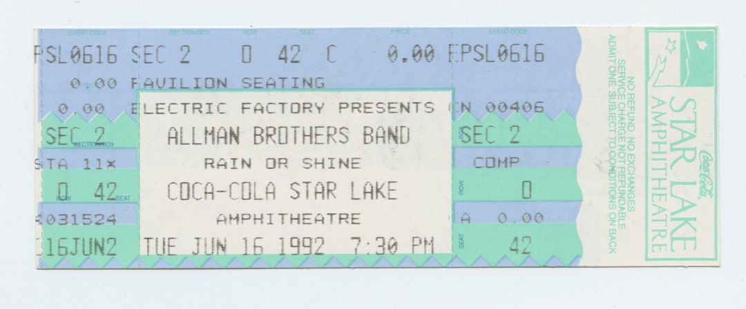 Allman Brothers Band Ticket 1992 Jun 16 Coca Cola Star Lake Amphitheatre Unused