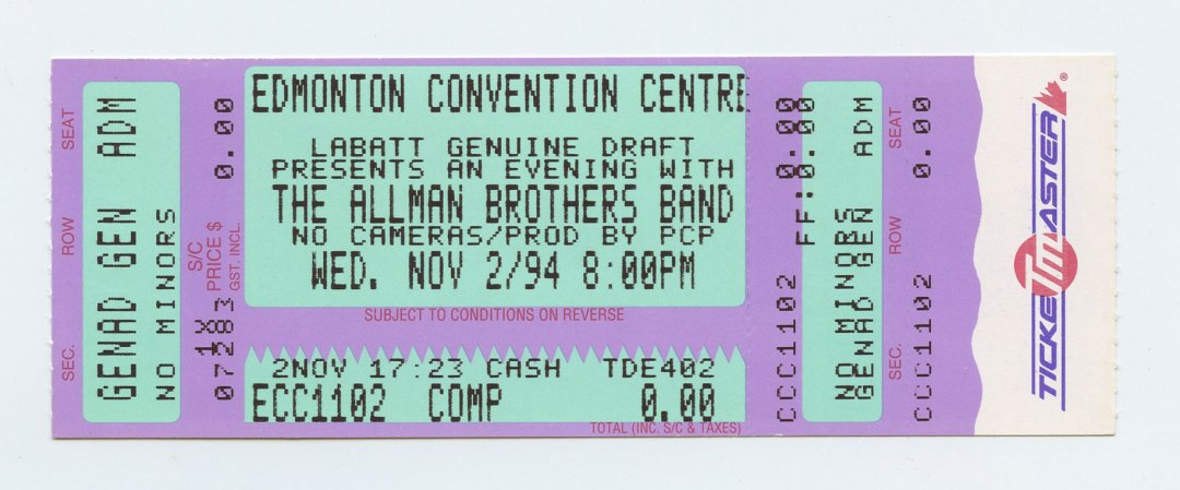 Allman Brothers Band Ticket 1994 Nov 2 Edmonton Convention Centre Canada Unused