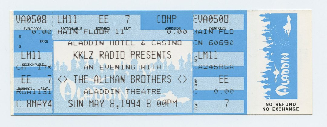 Allman Brothers Band Ticket 1994 May 8 Aladdin Hotel & Casino Las Vegas Unused