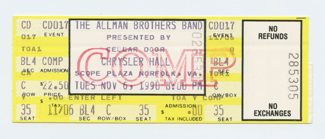 Allman Brothers Band Ticket 1990 Nov 6 Chrysler Hall Norfolk VA Unused