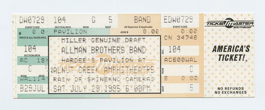 Allman Brothers Band Ticket 1995 Jul 29 Walnut Creek Amphitheatre Unused