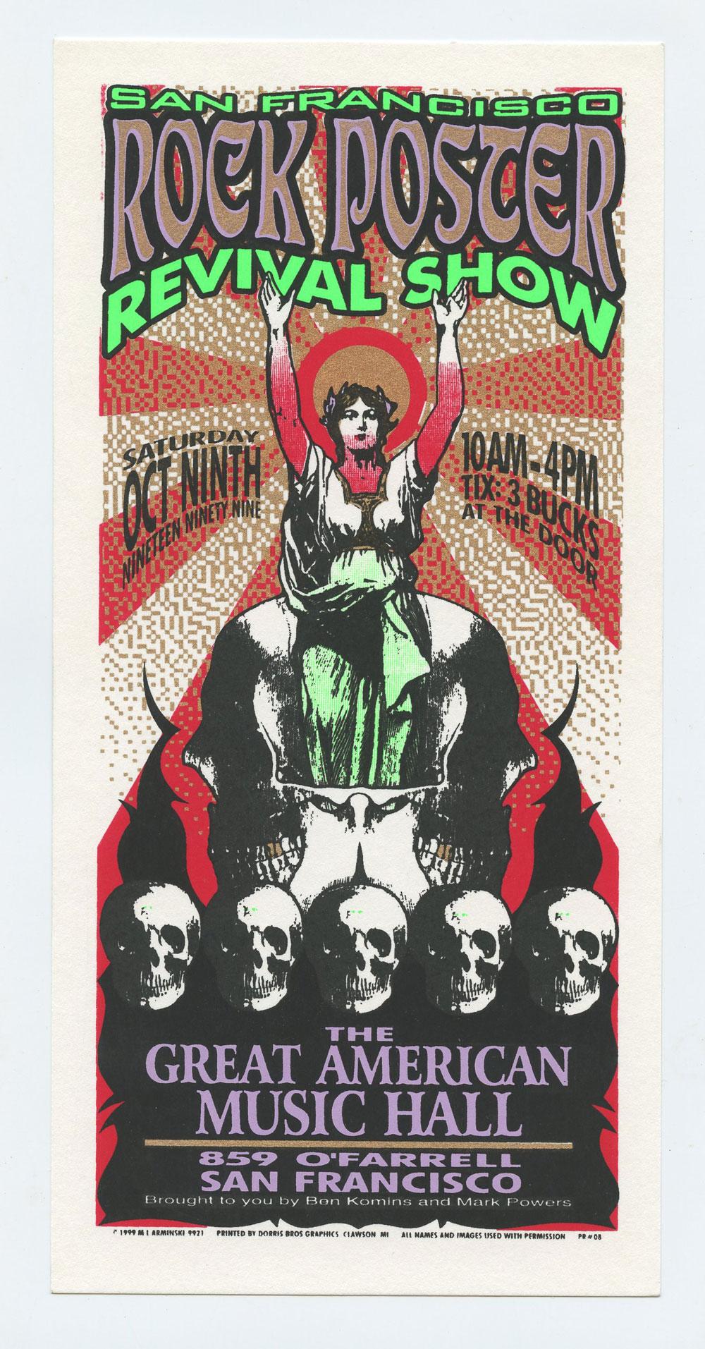 Rock Poster Revival Show 1999 Oct 9 San Francisco Handbill Mark Arminski
