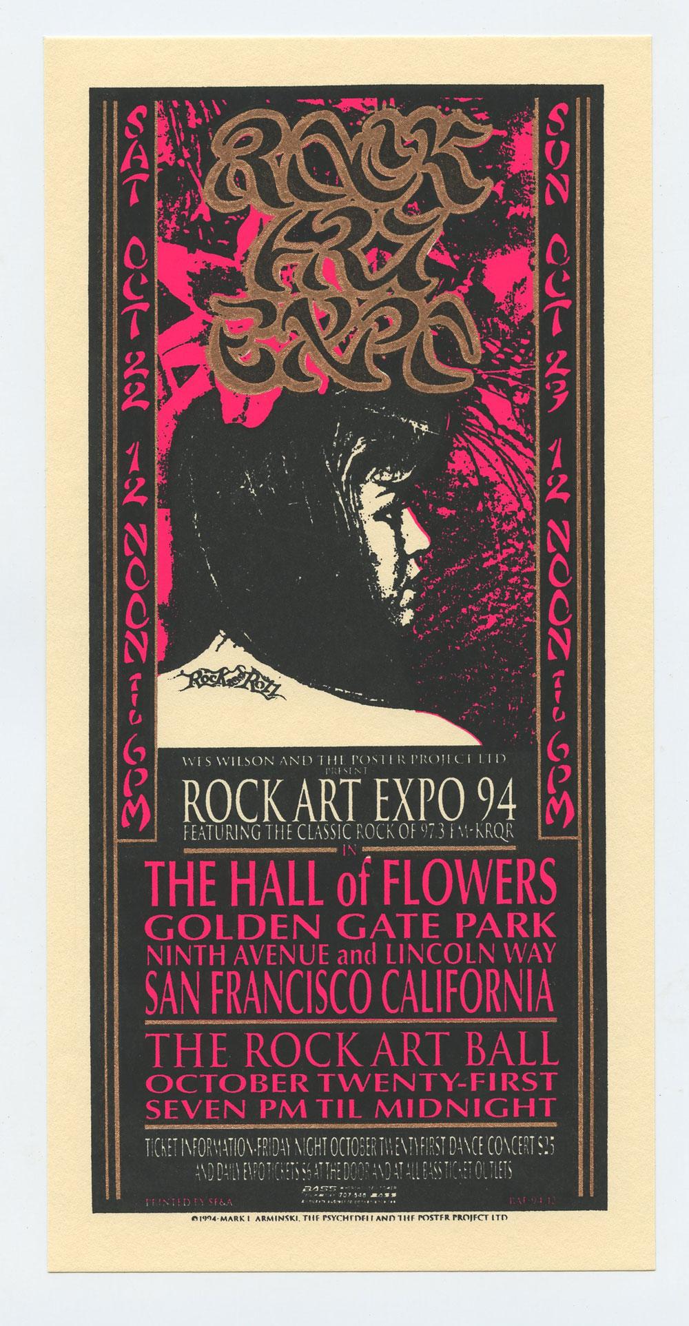 Rock Art Expo 1994 Oct 22 Golden Gate Park SF Handbill Mark Arminski