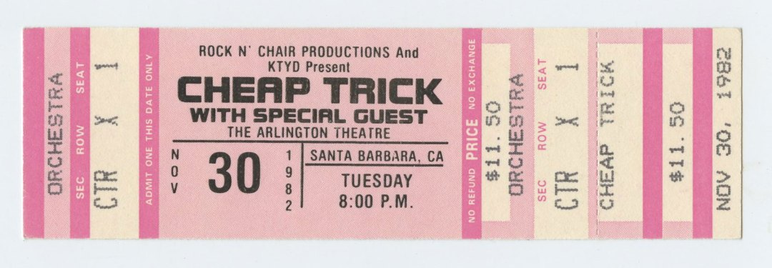 Cheap Trick Ticket 1982 Nov 30 Santa Barbara Unused
