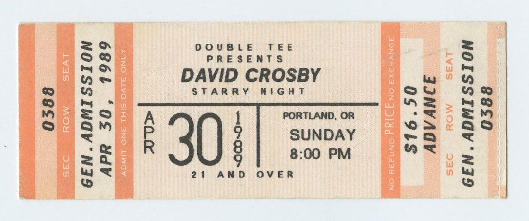 David Crosby Ticket 1989 Apr 30 Starry Night Portland Unused