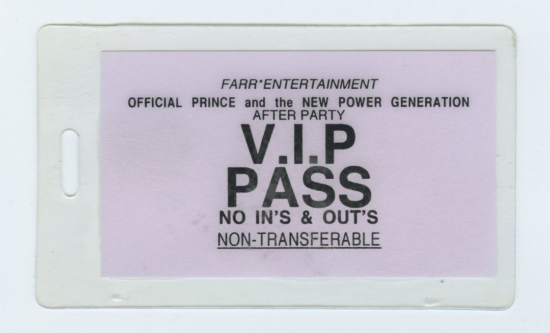 Prince and The New Power Generation After Party VIP Backstage pass Laminated