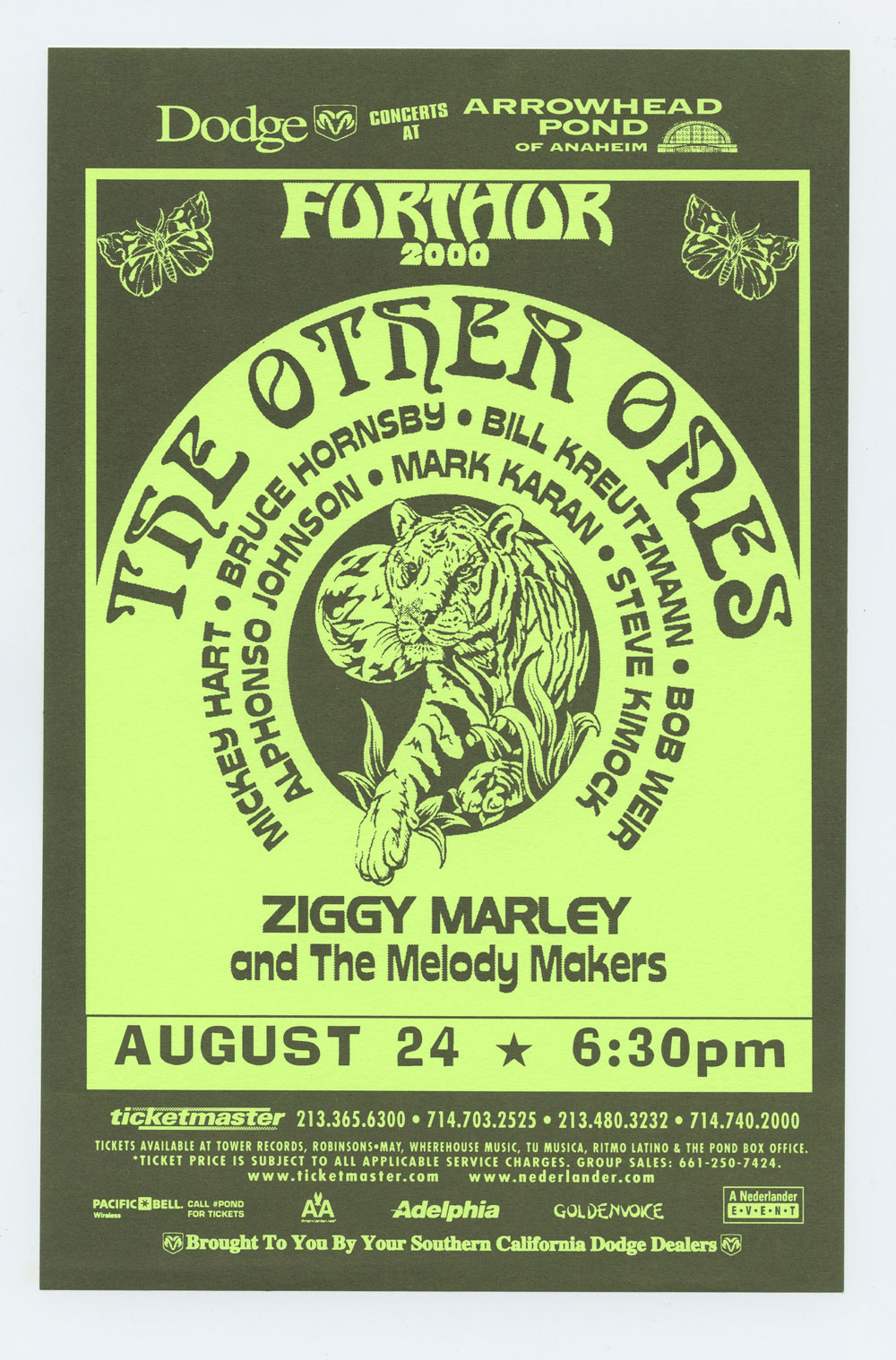 Ziggy Marley Handbill 2000 Aug 24 Pond of Anaheim Mickey Hart Bruce Hornsby