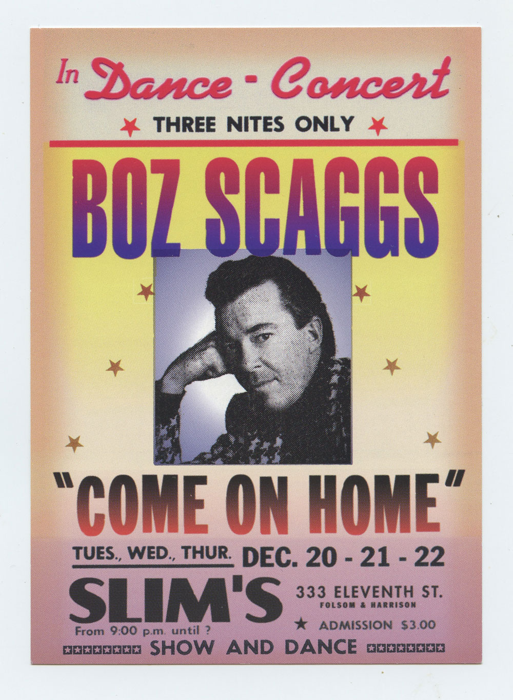 Boz Scaggs Postcard 1988 Dec 20 Slim's San Francisco