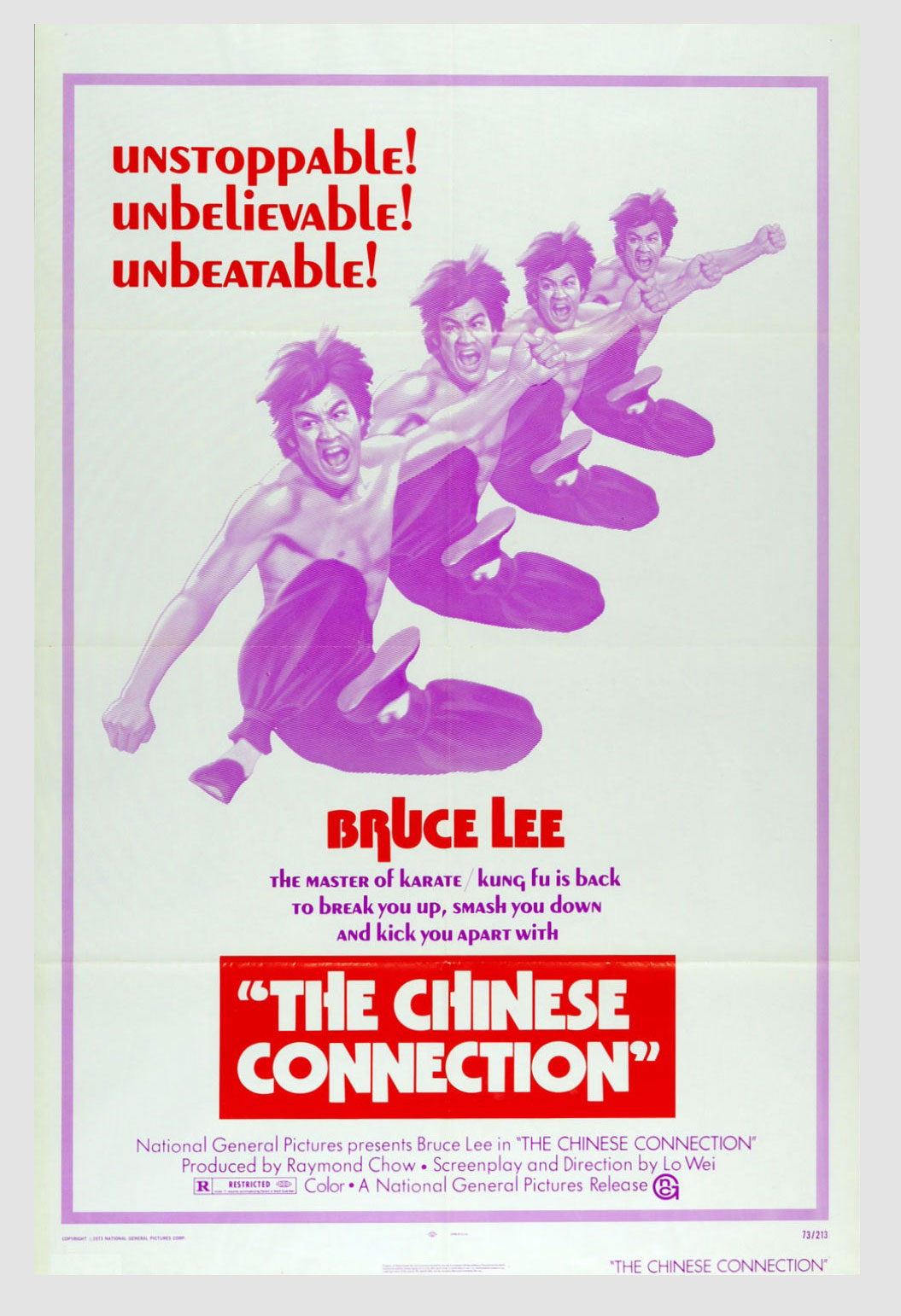 Bruce Lee Movie Poster 1972 Fist of Fury 24 x 41