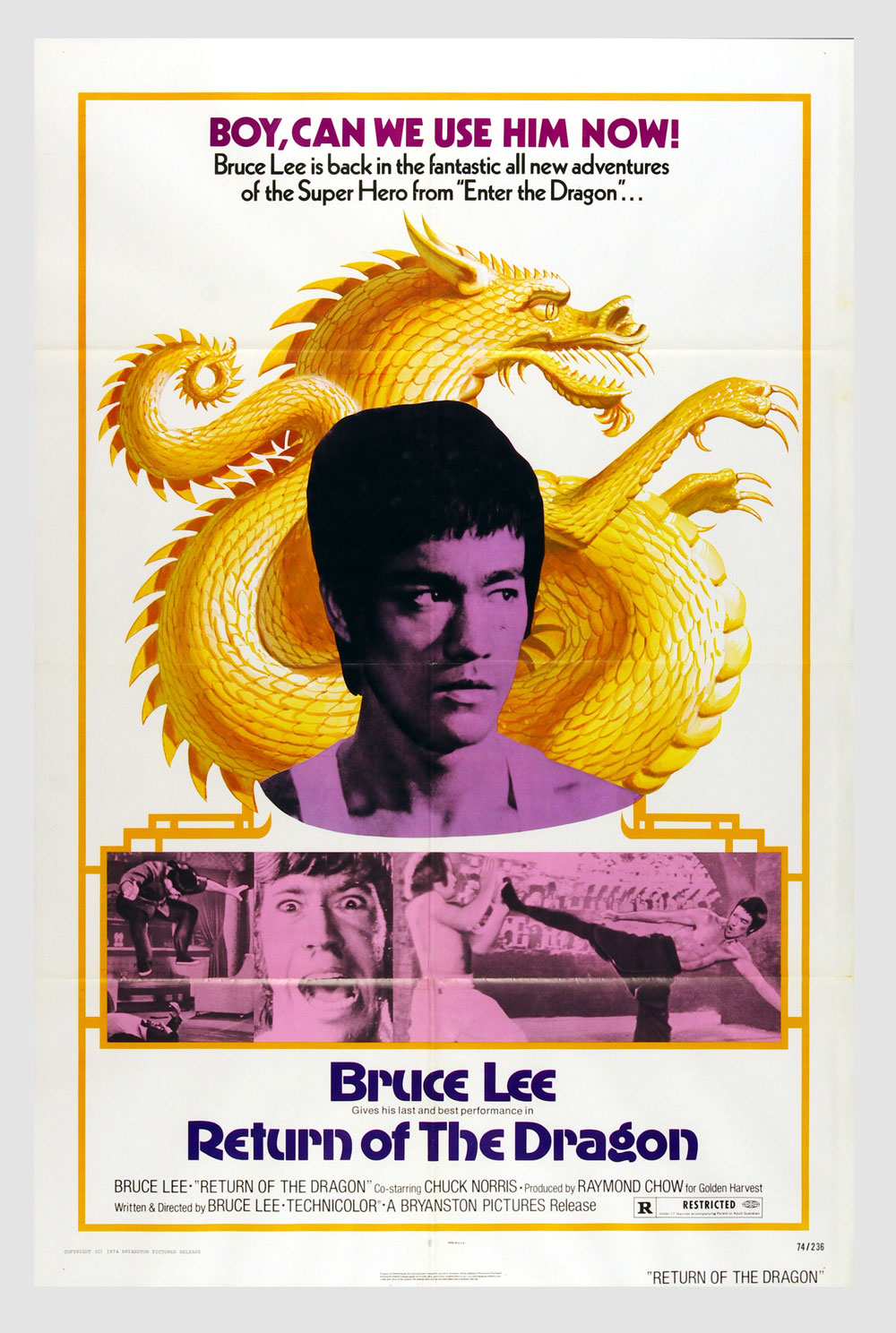 Bruce Lee Movie Poster 1972 The Way of Dragon 27 x 41