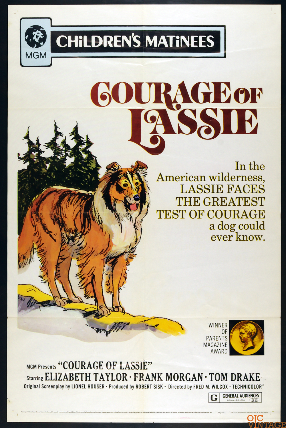 Courage of Lassie Movie Poster Elizabeth Taylor R1972 27 x 41 1 Sheet