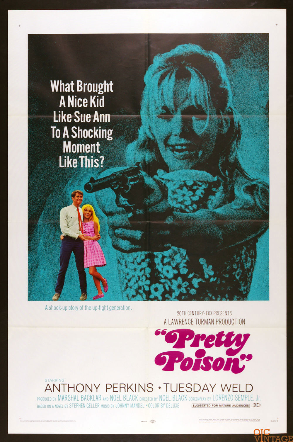 Anthony Perkins Tuesday Weld Pretty Poison 1968  Movie Poster 27 x 41 1 sheet