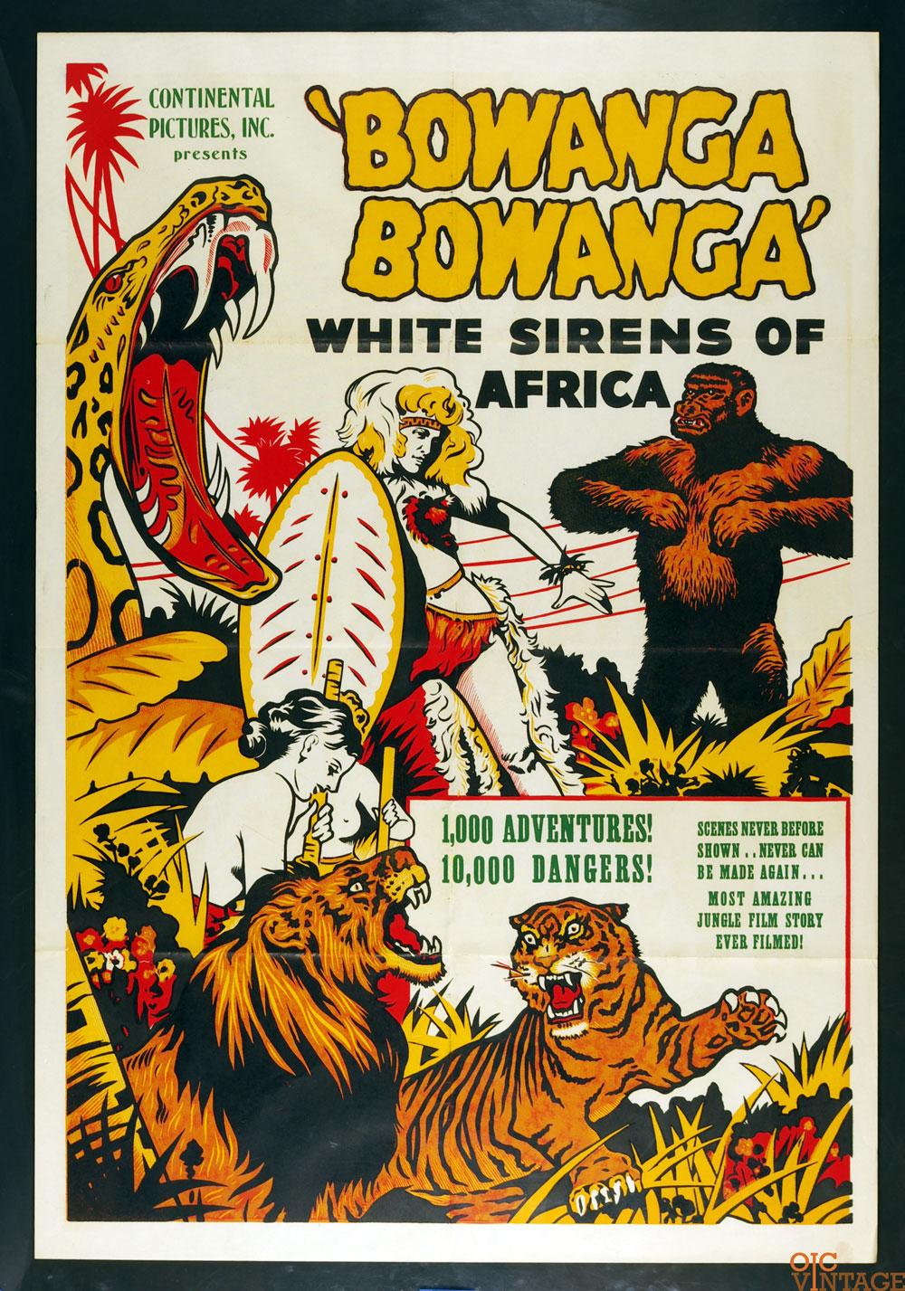 Wild Women Bowanga Bowanga White Sirens of the Africa 1951 Movie Poster 27 x 41 1 sheet