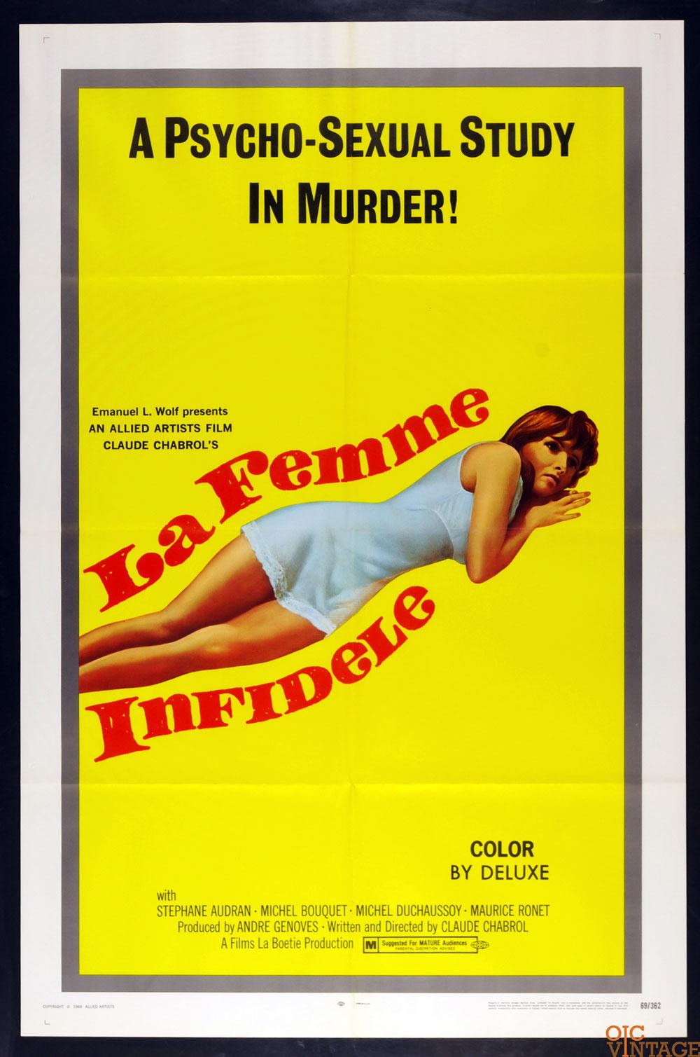 La Femme Infidele The Unfaithful Wife Movie Poster 1969 27 x 41