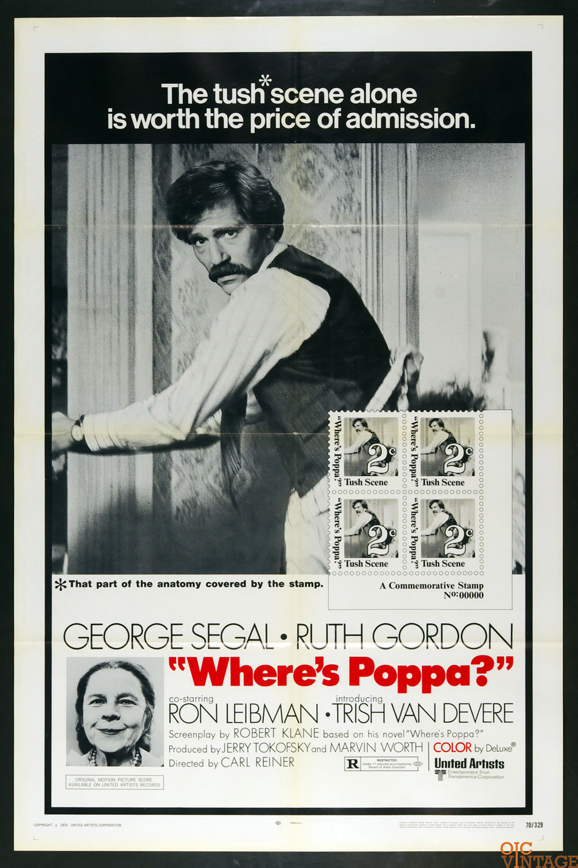 Where's Poppa Movie Poster 1970 George Siegal 27 x 41 1 Sheet