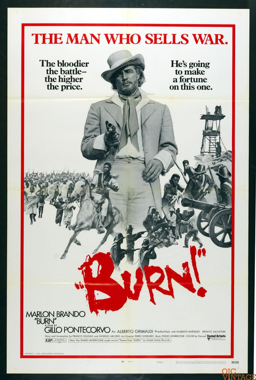 BURN! Movie Poster 1970 Marlon Brando 27 x 41 1 Sheet